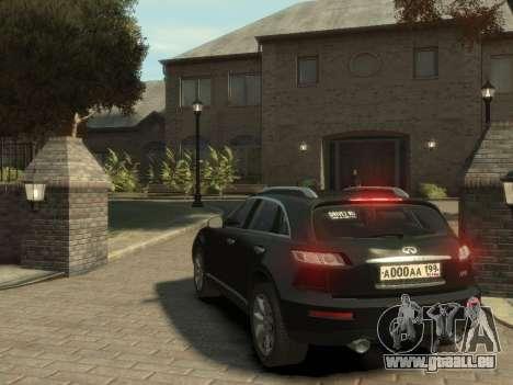 Infiniti FX45 2008 pour GTA 4 est un droit