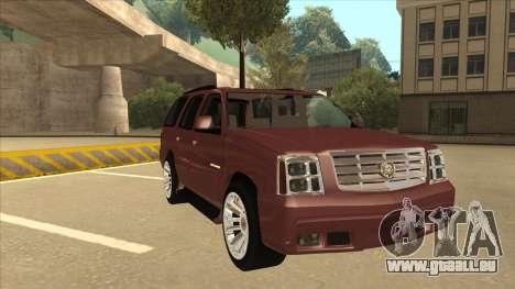 Cadillac Escalade 2002 pour GTA San Andreas laissé vue