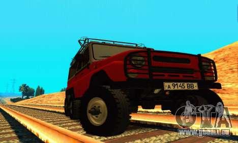 UAZ 31514 6 x 6 pour GTA San Andreas vue arrière