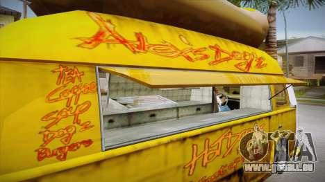Hot Dog Van Custom pour GTA San Andreas vue de côté