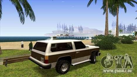 Rancher Bronco pour GTA San Andreas sur la vue arrière gauche