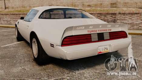 Pontiac Turbo TransAm 1980 pour GTA 4 Vue arrière de la gauche