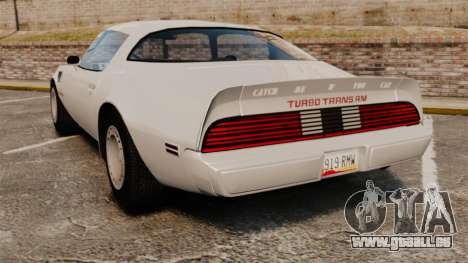 Pontiac Turbo TransAm 1980 für GTA 4 hinten links Ansicht