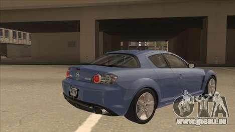 Mazda RX8 Tunable pour GTA San Andreas vue de droite