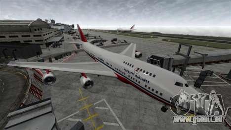 L'avion de Turkish Airlines pour GTA 4 Vue arrière de la gauche