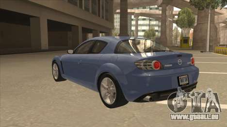 Mazda RX8 Tunable pour GTA San Andreas vue arrière