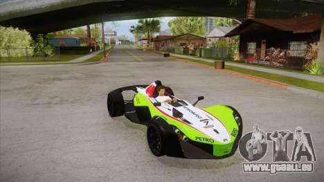 BAC Mono 2011 pour GTA San Andreas vue de dessous
