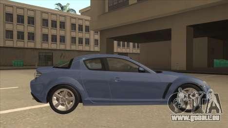Mazda RX8 Tunable pour GTA San Andreas sur la vue arrière gauche