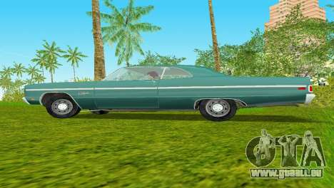 Plymouth Fury III 1969 Coupe für GTA Vice City Rückansicht