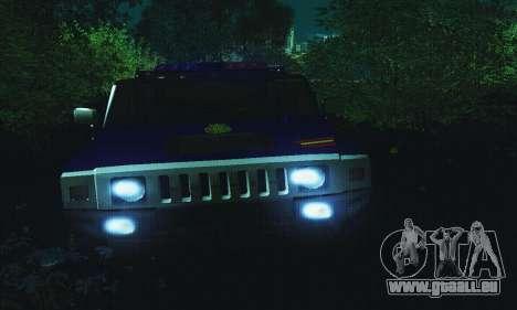 Hummer H2 G.E.O.S. für GTA San Andreas Rückansicht