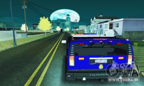Hummer H2 G.E.O.S. pour GTA San Andreas sur la vue arrière gauche