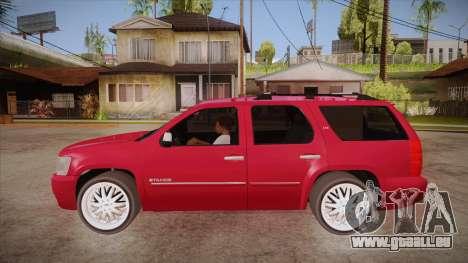 Chevrolet Tahoe LTZ 2013 Custom pour GTA San Andreas laissé vue