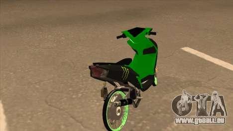 Yamaha Mio Soul 2 Monster Energy für GTA San Andreas zurück linke Ansicht