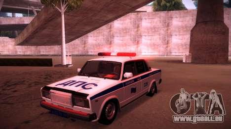 VAZ 2107 Polizei DPS für GTA San Andreas Unteransicht