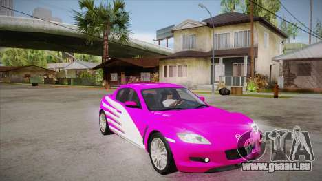 Mazda RX8 Tunnable pour GTA San Andreas vue arrière