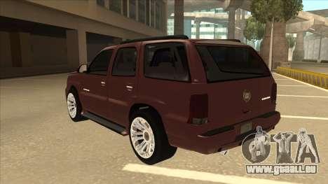 Cadillac Escalade 2002 für GTA San Andreas Rückansicht