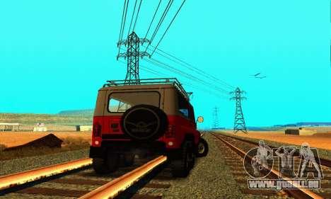 UAZ 31514 6 x 6 für GTA San Andreas zurück linke Ansicht