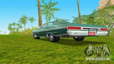 Plymouth Fury III 1969 Coupe pour une vue GTA Vice City de l'intérieur