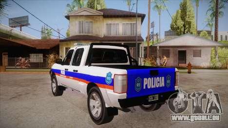 Ford Ranger 2011 Province of Buenos Aires Police pour GTA San Andreas sur la vue arrière gauche