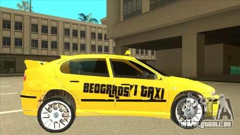 Seat Leon Belgrade Taxi pour GTA San Andreas sur la vue arrière gauche
