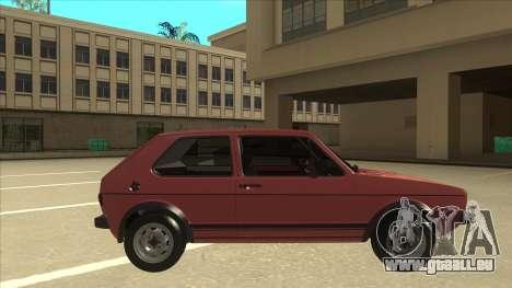 Volkswagen Golf 1 TAS pour GTA San Andreas sur la vue arrière gauche