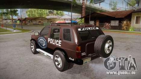 Nissan Terrano RB26DETT Police pour GTA San Andreas sur la vue arrière gauche