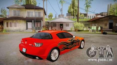 Mazda RX8 Tunnable pour GTA San Andreas vue de droite