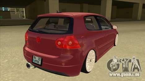 Volkswagen Golf V pour GTA San Andreas vue de droite