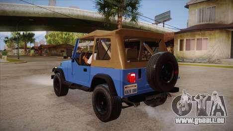 Jeep Wrangler V10 TT Black Revel pour GTA San Andreas sur la vue arrière gauche