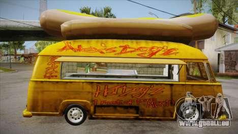 Hot Dog Van Custom pour GTA San Andreas vue arrière