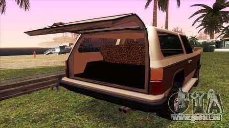 Rancher Bronco pour GTA San Andreas vue de côté