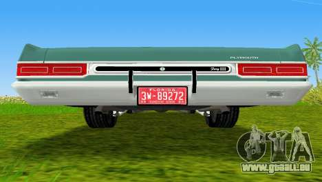 Plymouth Fury III 1969 Coupe für GTA Vice City Seitenansicht