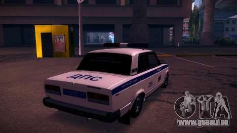 VAZ 2107 Polizei DPS für GTA San Andreas zurück linke Ansicht
