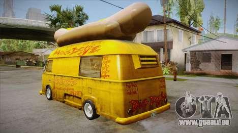 Hot Dog Van Custom pour GTA San Andreas sur la vue arrière gauche