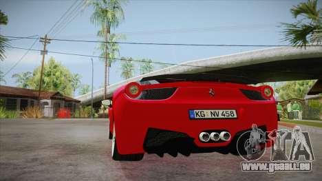 Ferrari 458 Italia Novitec Rosso 2012 v2.0 für GTA San Andreas zurück linke Ansicht