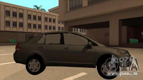 Nissan Tiida sedan pour GTA San Andreas sur la vue arrière gauche