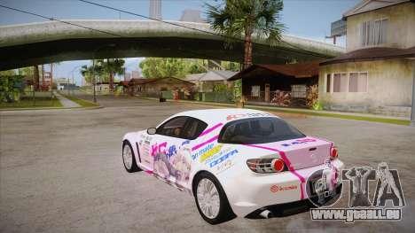 Mazda RX8 Tunnable pour GTA San Andreas sur la vue arrière gauche