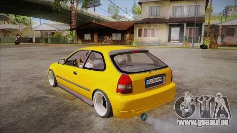Honda Civic 1998 Tuned pour GTA San Andreas sur la vue arrière gauche