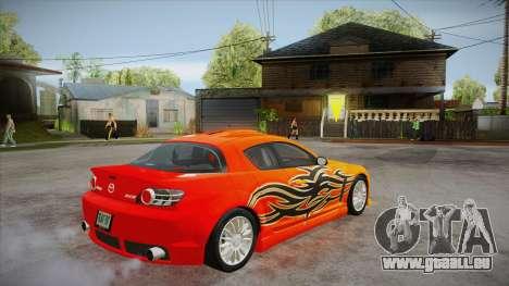 Mazda RX8 Tunnable pour GTA San Andreas vue de dessous