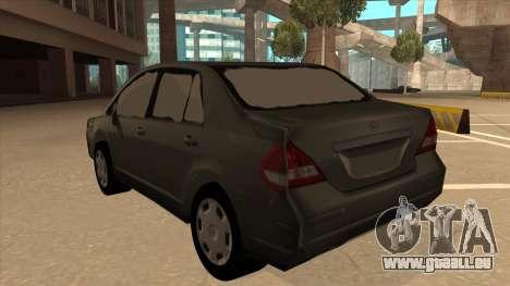 Nissan Tiida sedan pour GTA San Andreas vue arrière