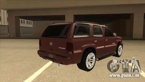 Cadillac Escalade 2002 pour GTA San Andreas vue de droite