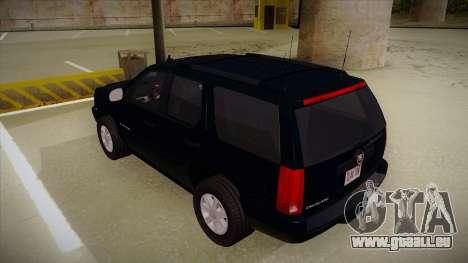 Cadillac Escalade 2011 Unmarked FBI pour GTA San Andreas vue arrière