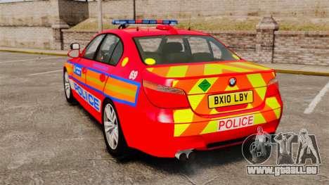 BMW M5 E60 Metropolitan Police 2010 ARV [ELS] pour GTA 4 Vue arrière de la gauche