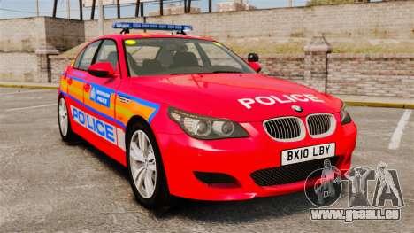 BMW M5 E60 Metropolitan Police 2010 ARV [ELS] pour GTA 4