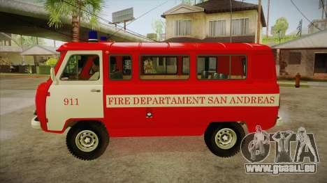 Siège UAZ 452 pompier SA pour GTA San Andreas laissé vue