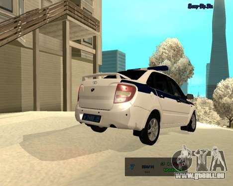 Lada Granta 2190 Polizei V 2.0 für GTA San Andreas Rückansicht