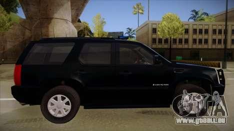 Cadillac Escalade 2011 FBI pour GTA San Andreas sur la vue arrière gauche