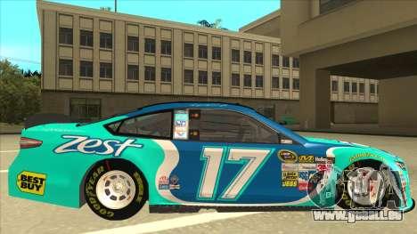 Ford Fusion NASCAR No. 17 Zest Nationwide für GTA San Andreas zurück linke Ansicht