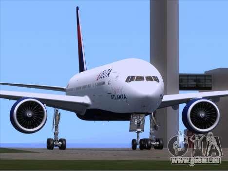 Boeing 777-200ER Delta Air Lines für GTA San Andreas zurück linke Ansicht