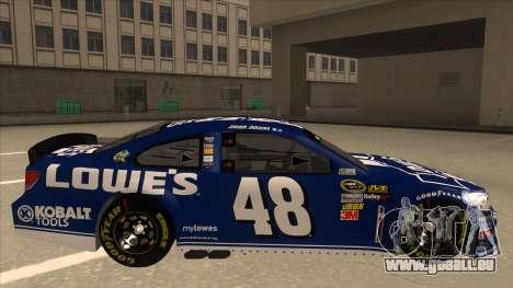 Chevrolet SS NASCAR No. 48 Lowes blue pour GTA San Andreas sur la vue arrière gauche